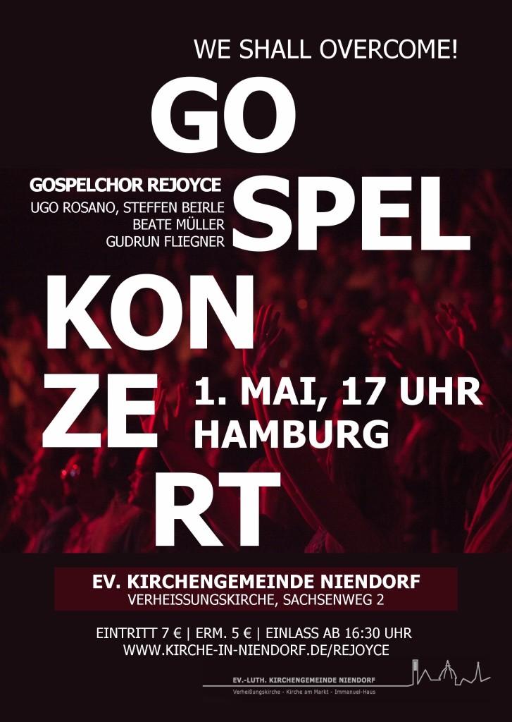Konzertplakat 1. Mai 2016 ReJOYce Gospelchor Hamburg Niendorf